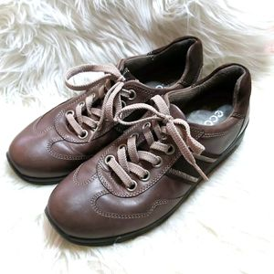 Ecco Mobile Oxford Leather Suede Comfort Shoe